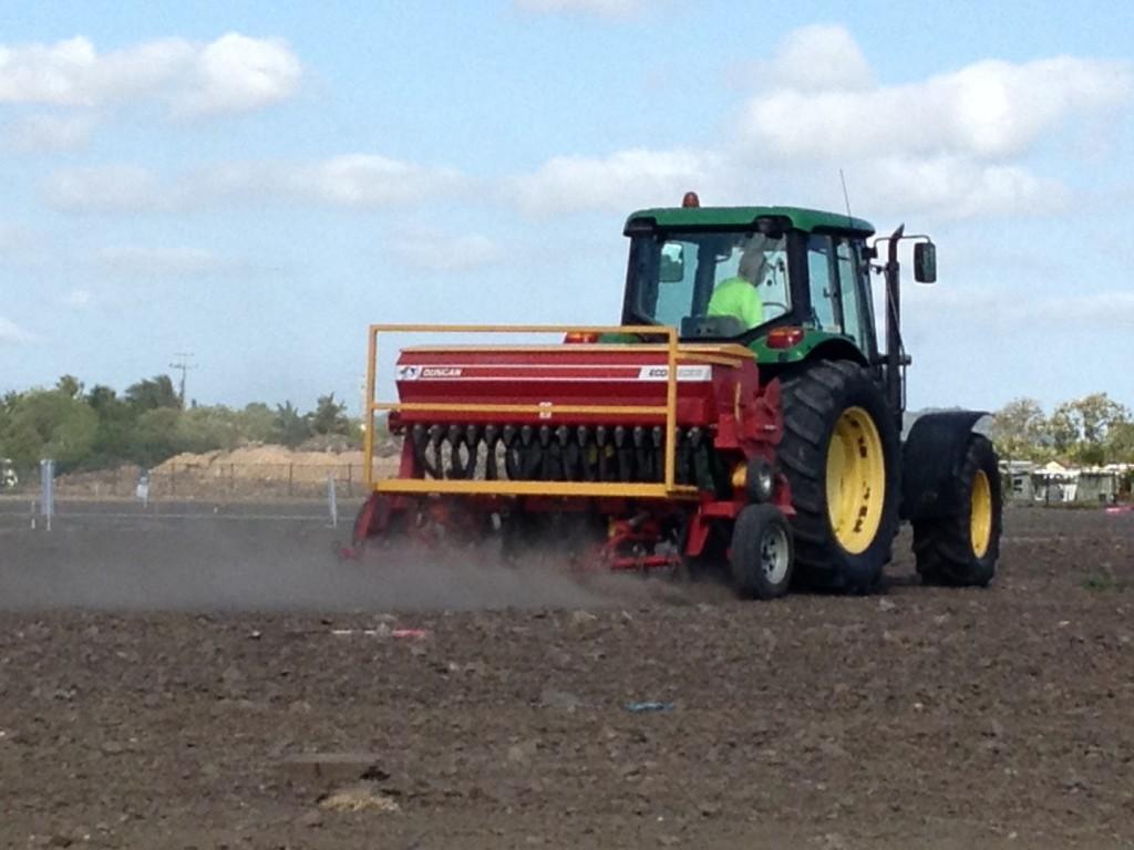grass seeding and fertilising